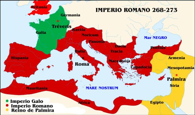 Imperio Romano (268-273) en época de Claudio II y Aureliano.
