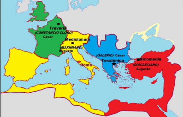 """Imperio Romano en el año 300. sedes de """"los Tetrarcas""""."""