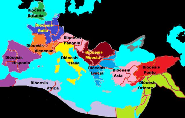 """Imperio Romano en 293. Las 12 """"diócesis"""" de Diocleciano."""