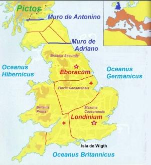 Diócesis Britania y sus 4 Provincias. Año 305