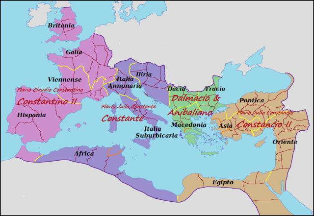 Imperio Romano, 336-337. Los herederos de Constantino.