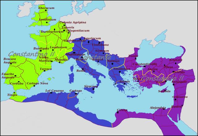 Imperio Romano, 337-340. Los hijos de Constantino el Grande.