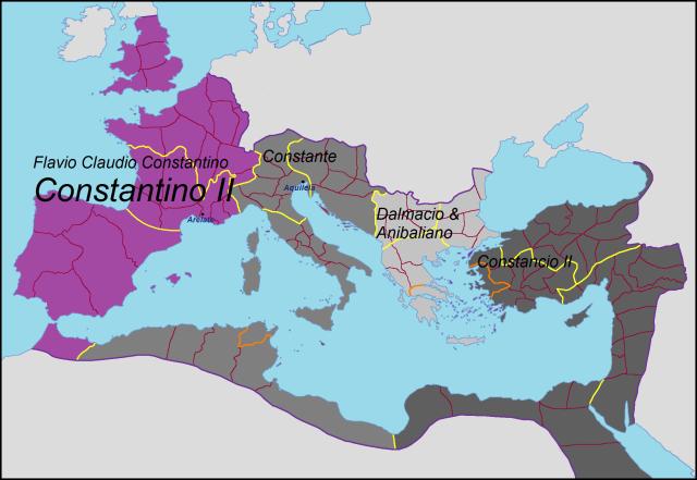 Imperio Romano en 337, los herederos de Constantino el Grande.