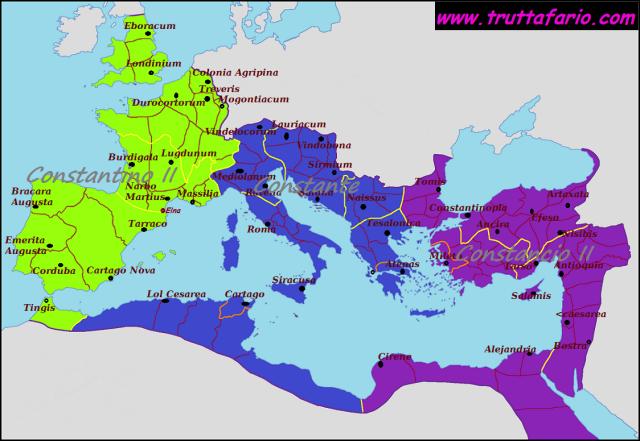 Imperio Romano en 340. Los hijos de Constantino: Constantino II, Constante y Constancio II.