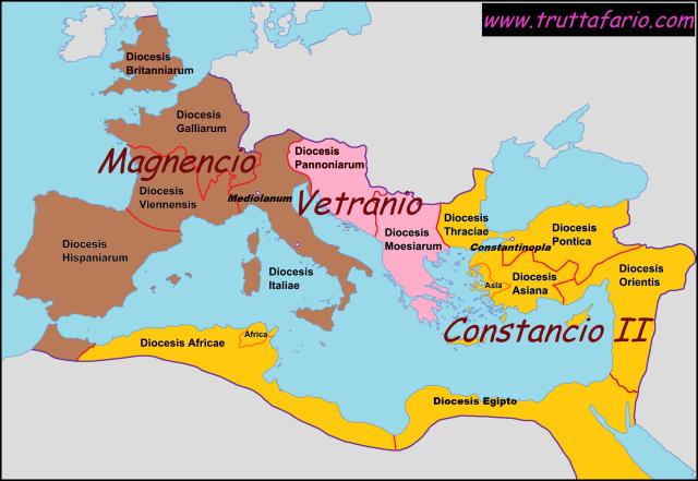 Imperio Romano, 350-353. Magnencio y Constancio II.