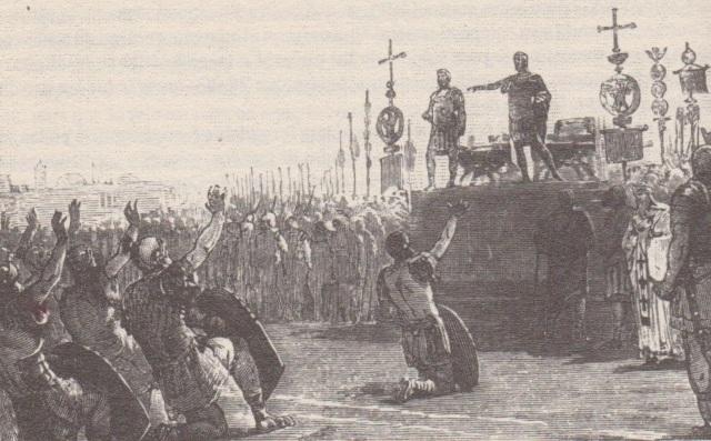 Proclamación, por las legiones, de Juliano II como Emperador. (ilustración de L. Pogliaghi)
