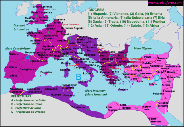 Imperio Romano: Prefecturas, Diócesis, Provincias. (Clik en mapa pantalla completa)