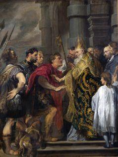 Ambrosio, Obispo de Milán, reprende a Teodosio.