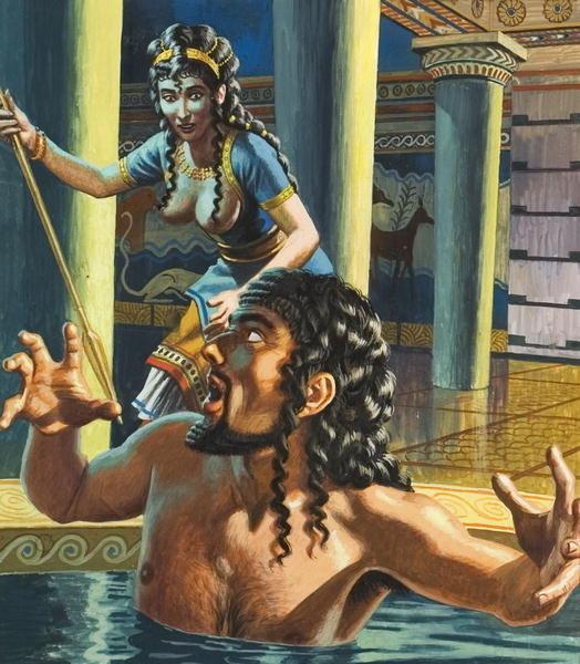 Clitemnestra mata a Agamenón (dib. de Roger Payne)