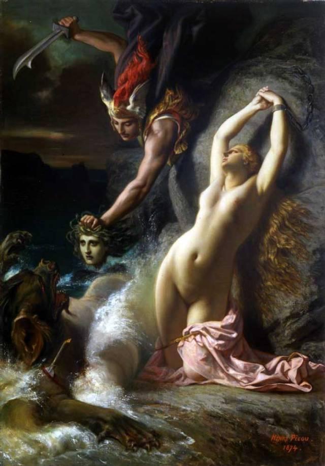 Andrómeda liberada por Perseo (Henri-Pierre Picou,1824-1895)