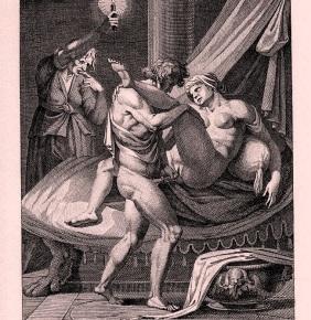 Mesalina en el burdel (grabado de Agostino Carracci)